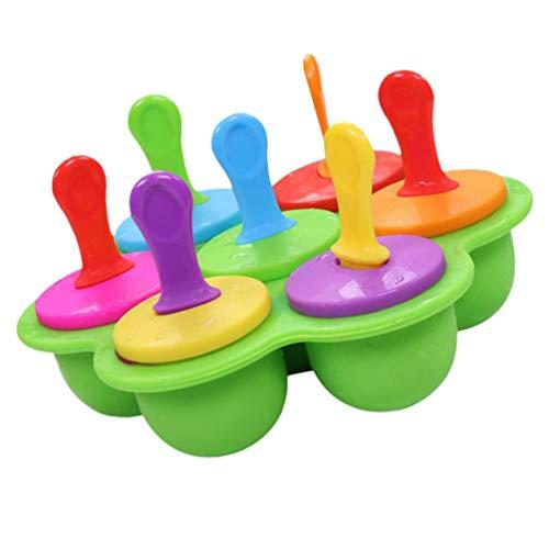 Hemoton Siliconen Ijslollyvorm Ijsbar Makers Met Plastic Stokjes Voor Eitjes Lollipop Ijsvorm Houder Babyvoeding Opslag Container Bevroren Pop Trays Groen