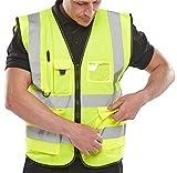 Chaleco de seguridad para trabajo ejecutivo con cremallera y bolsillo de alta visibilidad