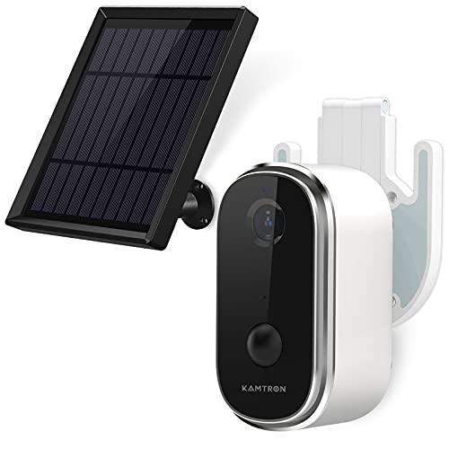 KAMTRON Akku Überwachungskamera Aussen mit Solarpanel 100{2a4ad4363383678a8a3d3db0e4e24c87fb2f860dc3bceccb9fa5d82a63ed2114} Kabellos 1080P WLAN IP Kamera Outdoor, PIR Bewegungsmelder, IR Nachtsicht, 2-Wege-Audio, Unterstützt 128G SD-Karte