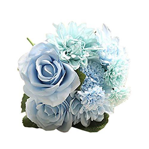 Flores de seda: rosa y dalia para ramos de bodas, decoración del hogar, etc, de LI Hua, plástico, azul, 12*12