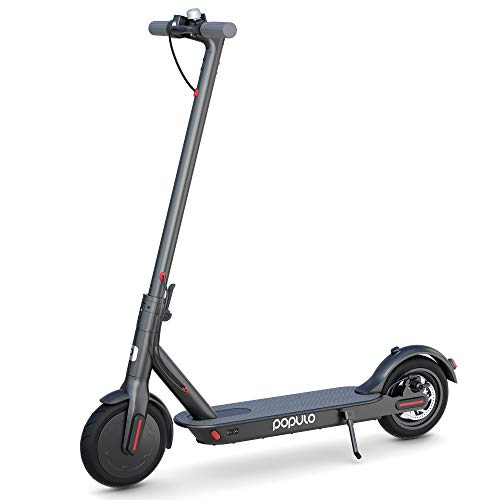 """Populo Electric Scooter - 8.5"""" Pneumatic Tires - Up to 14.5 Miles & 15 MPH Portable Folding Commuting Electric Scooter for Adults with Double Braking System"""