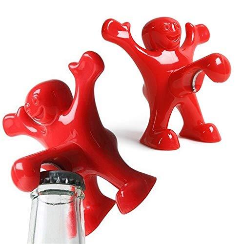 ZZLLFF 1 PC-Neuheit Red Man Wein-Öffner Kleine Bar Werkzeuge Weinkorken-Flaschen-Stecker Lustiger glücklicher Kerl Openers Weihnachten Sankt-Geschenk-Flaschenöffner