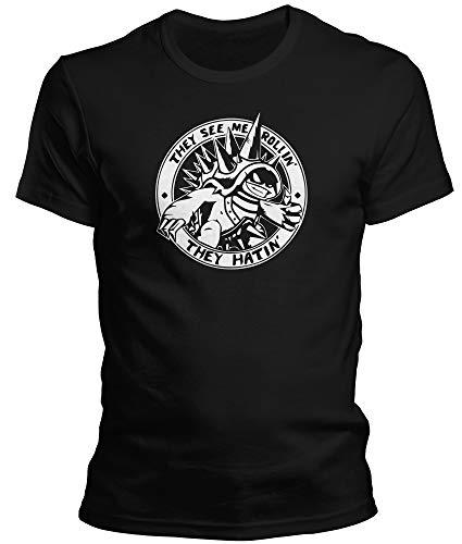 DragonHive Herren T-Shirt LOL Rammus They See Me Rollin They Hatin, Größe:XL, Farbe:Schwarz