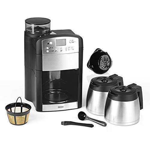 BEEM FRESH-AROMA-PERFECT Filterkaffeemaschine mit Mahlwerk - Thermo   Inkl 2 Isolierkannen   24h-Timer   1000 W   Warmhalteplatte