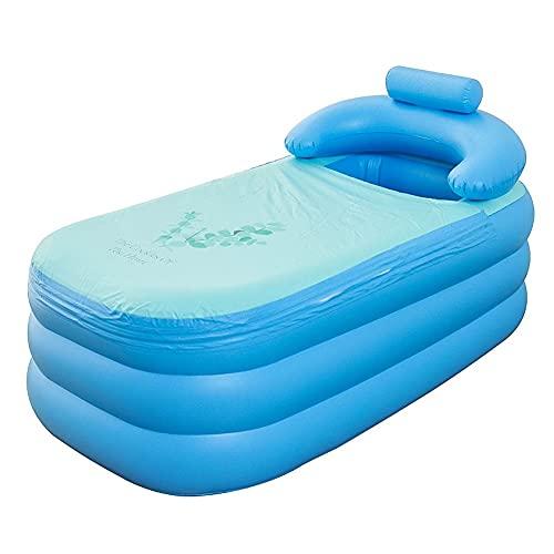 ZYCH 160cm Bañera Hinchable de Plástico Plegable Portátil Bañera de Hidromasaje PVC,para Bañera Inflable Adulto para SPA en Casa o Jardín(con Bomba Electrica) (Color : Blue)