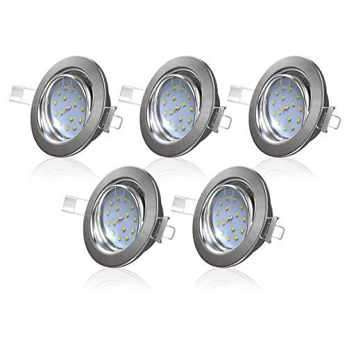 B.K.Licht I 5er Set schwenkbare LED Einbaustrahler I Ultra flache Spots 26 mm I 3.000K warmweiße Lichtfarbe I inkl. 5x 5W Modul mit 400lm I LED Einbauleuchten I Matt-nickel I Deckenspot