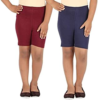 Pixie Women's Cycling/Yoga/Casual Shorts (Pack 2), Maroon and Navy Blue