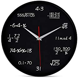 Bernhard Products Math Wall Clock 12 Inch Black Silent Non-Ticking Quality Quartz Round Battery Operated for Home Office School Classroom, Mathematical Equations for Students & Teachers