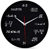 Bernhard Products Math Wall Clock 12 Inch Black Silent Non-Ticking for Math Teacher/Student/Engineer Graduate, Quartz Round Battery Operated for Home Office School Classroom, Mathematical Equations