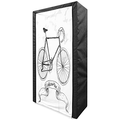 Lunarable Bicycle Portable Fabric Wardrobe, Ride Your Bike Lettering Nostalgic Mountain 2 Wheeler Hand Drawn Sketchy, Clothing Organizer and Storage Closet with Shelves, 33.5', Charcoal Grey White