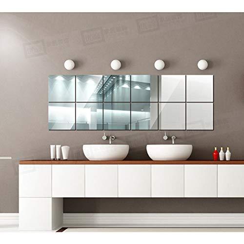 12 Láminas Espejo Adhesiva decoración Pared, Pegatinas Vinilo azulejo Espejo Cuadrado Adhesivo de Pared Decorativos para habitación baño Comedor salón ect (Plata, 15_X_15_cm)