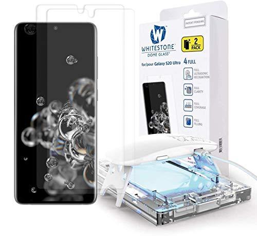 Whitestone Galaxy S20 ウルトラスクリーンプロテクター [ドームガラス] フルHD クリア 3D カーブエッジ 強化ガラス [超音波指紋の優れたソリューション] 取り付けトレイ - 2パック