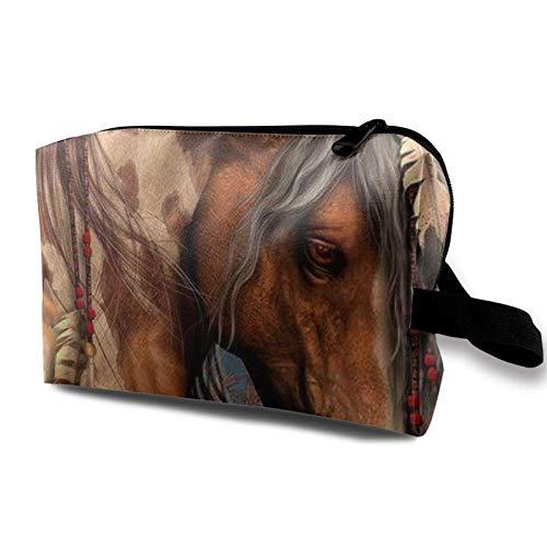 XCNGG Bolsa de almacenamiento de maquillaje de viaje, bolso de aseo portátil, pequeña bolsa organizadora de cosméticos para mujeres y hombres, caballos de guerra indios