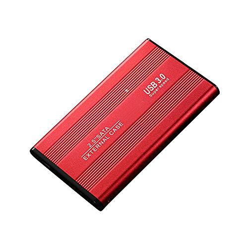 Disco duro externo de 2,5 pulgadas, 2 TB/ 1 TB/ 500 GB de disco duro externo de alta velocidad, USB 3.0 SATA3.0 para 7 mm/9,5 mm 2,5 pulgadas SATA I/II/III HDD y SSD de hasta 3 TB (máx.), rojo