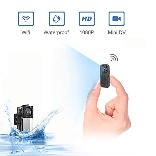 ZZCP Mini Camara Espia Oculta Acuatica, 1080P Full HD Camaras de Seguridad WiFi Exterior Portátil con…