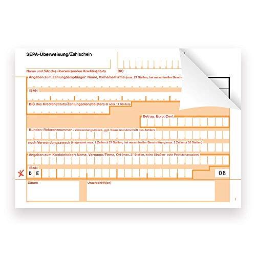 100 x SEPA-Überweisung/Zahlschein, einzeln, 2-fach, rechts verleimt, neutral