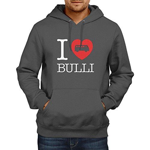 Texlab I Love Bulli T1 - Herren Kapuzenpullover, Größe M, grau