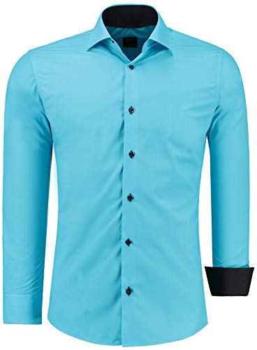 Camisa para hombre de manga larga Jeel para negocios, ocio, bodas, fácil de planchar, corte estrecho, S-6XL turquesa L