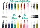 24 Set Acrylstift Marker Stifte 0,7 mm + 3,0 mm Dünne & Dicke Spitze 12 Farben Filzstift Wasserfest...