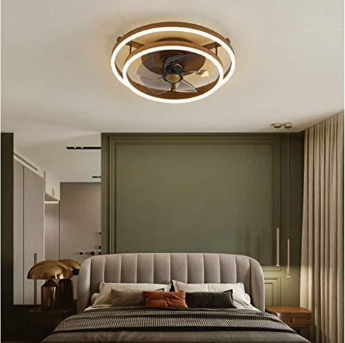Deckenventilator Mit Beleuchtung 46W LED-Licht Einstellbare Windgeschwindigkeit Leise Dimmbar Fernbedienung Moderne Ventilator Deckenleuchte Schlafzimmer Wohnzimmer Esszimmer Fan Lamp,Braun,2 rings
