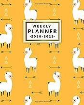 2020-2022 Weekly Planner: Tribal Yellow Llama & Arrows 3 Year Planner & Organizer with Weekly Spread Views | Inspirational 3 Year Calendar, Schedule Agenda & Diary | Funky Llama & Alpaca Pattern