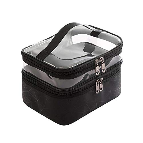 Wangxin® Cosmetic Bag One Pack Double Usage Double Top Et Bottom Femmes Ins Petit Style Portable Simple Sac De Lavage De Grande Capacité Sac Cosmétique Voyage Black