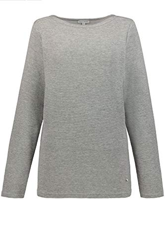 GINA LAURA Damen Sweatshirt, Querrippen-Struktur, U-Boot-Ausschnitt hellgrau-Melange XXL 725109 12-XXL