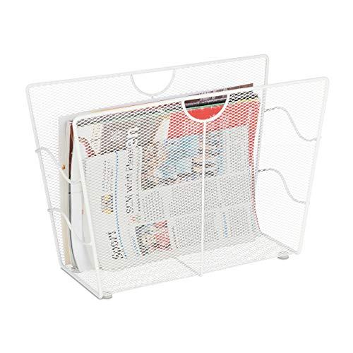 Relaxdays Zeitungsständer Metall, Zeitschriftenständer freistehend, Mesh, Wohnzimmer und WC, HBT: 27 x 39 x 17 cm, weiß
