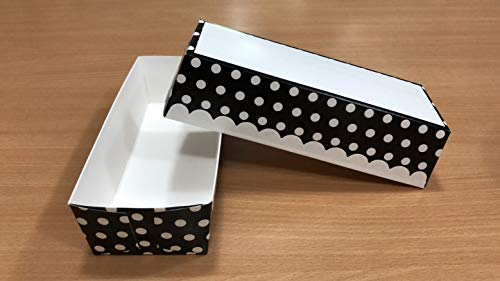 Evvier Products Paper Loaf Pans, Pack of 25 Disposable Loaf Pans, Black and White Dot Print Design Paper Loaf Pans For Baking, Rectangular Shape Bakeware Disposable Microwave, Freezer and Oven Safe