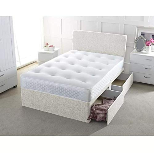 17 Stories Chenille Orthopaedic Pocket-sprung Divan Bed (Cream, Small Single (2'6), No Drawer)