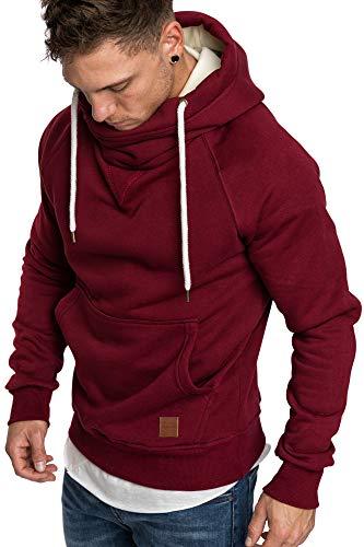 Amaci&Sons Herren Turtle-Neck Kapuzenpullover Sweatjacke Pullover Hoodie Sweatshirt 4025 Bordeaux XL