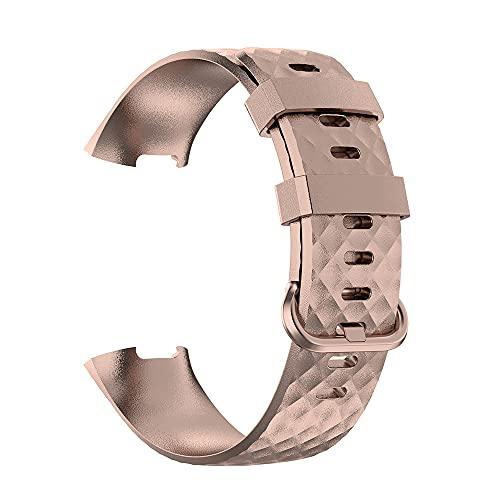G-RF TPE Bandas De Reloj para Fitbit Charge 3 / 3SE / 4 Metálico Pintado Correa (L,Oro Rosa)