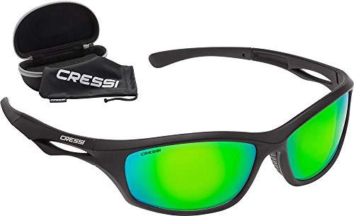Cressi Unisex– Erwachsene Sniper Sunglasses Sport Sonnenbrillen, Schwarz/Linsen Verspiegelte Grüne, One Size