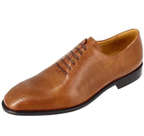 Belym Richelieu - Calzado para hombre de ciudad (piel, color coñac), Marrón (marrón), 40 EU