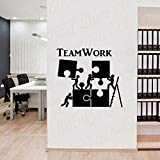 Vinyl Wall Decal Teamwork Motivation Decor for Office Worker Puzzle Wall Sticker
