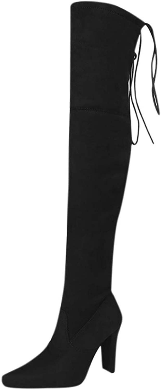Mina damer Thigh höga stövlar Stretch Faux mocka Slim Slim Slim Mode Över Knee skor High klackar Boot  snabb frakt och bästa service