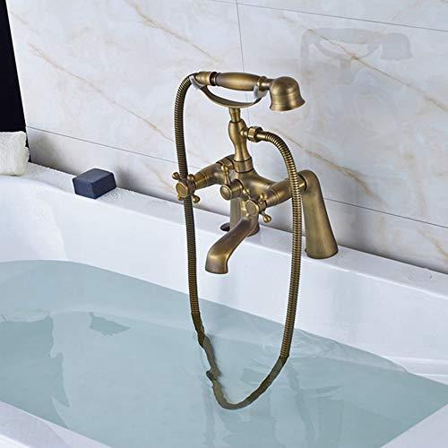 HWJDGWQ Retro de latón Antiguo Doble Cruzado manijas baño montado en la Cubierta bañera con Patas bañera Grifo Mezclador Grifo con Ducha de Mano