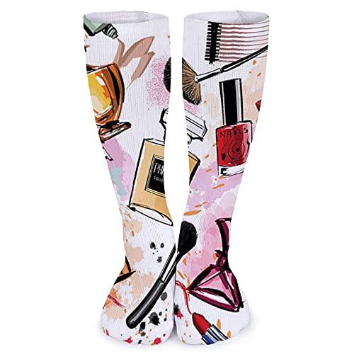 Moda lápiz labial perfume acuarela área mujeres suave rodilla tubo calcetines 15.7 pulgadas hombres casual compresión Crew calcetines atléticos largos para viajes, correr, diario, fútbol, deportes