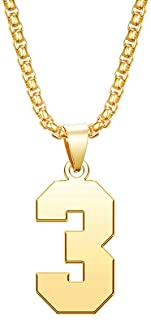 MZC Jewelry Lucky Gold Number Necklace Stainless Steel Chain Pendant for Women Men