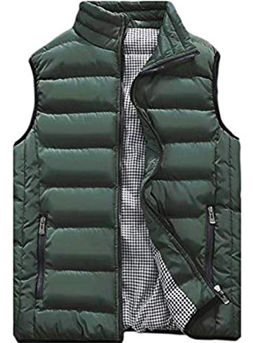 XinYangNi Men's Packable Puffer Down Vest Ultralight Warm Outdoor Sleeveless Jacket Army Green US L