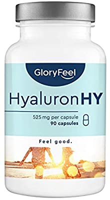 Hyaluronic Acid Capsules 525mg high Dosage - 90 Vegan Capsules with 500-700 kDa for 3-Month Supply - 525mg Pure hyaluronic Acid per Capsule - Laboratory Tested Production in Germany