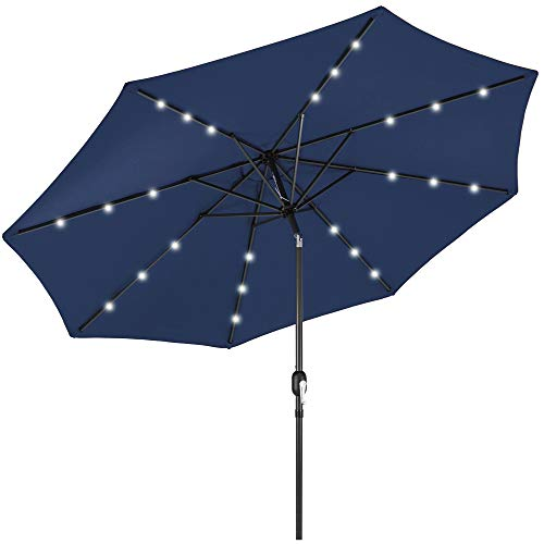 Best Choice Products 10ft Solar Powered Aluminum Polyester LED Lighted Patio Umbrella w/Tilt Adjustment and FadeResistant Fabric Navy Blue