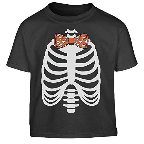 Shirtgeil Costume Halloween - Scheletro a Raggi-X con Papillon Maglietta per Bambini 5-6 Anni (106/116cm) Nero