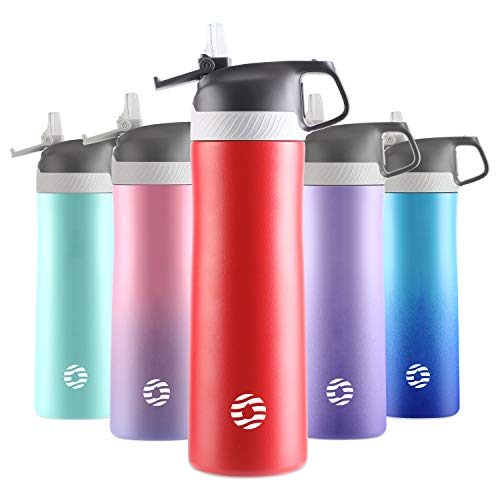FJbottle Sports Water Bottles with Straw, 20 oz Double Wall Vacuum Insulated Stainless Steel Bottle...