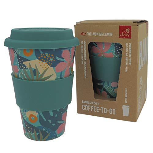 ebos Coffee-to-Go Becher aus Bambus – melaminfrei | Wiederverwendbarer Trink-Becher aus natürlichen Materialien | spülmaschinen- und mikrowellengeeignet | Tropical Island
