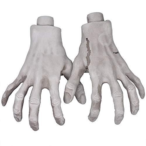 XONOR Esqueleto manos de Halloween – 1 par realistas de plástico esqueleto zombi manos para Halloween terrorismo accesorios decoración (A)