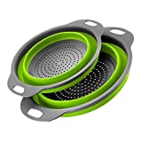 ZUNBELLA 2-Pack Collapsible Colanders (Strainers) Set, Silicone Folding Kitchen Vegetable Basket - 11.5' and 9.7' Size with Base & Handle, BPA Free, Dishwasher-Safe (Colanders Set)