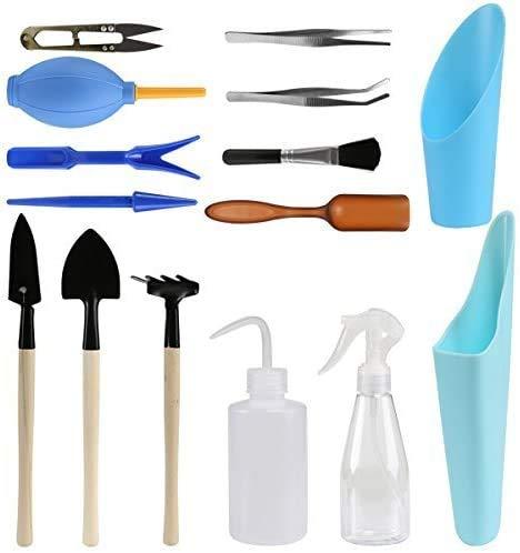 LIHAO 15 Stück Mini Pflanzen Werkzeug Set Gartenwerkzeug für Gärten und Topfpflanze (Verpackung MEHRWEG)
