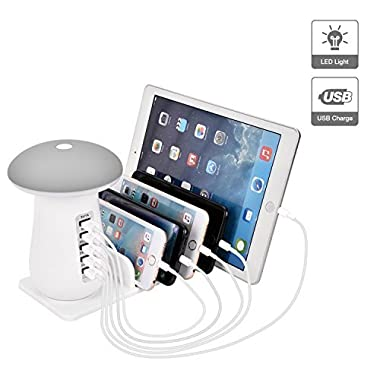 USB Charging Station,SHOW WISH Charging Stand Organizer With Mushroom LED Desk Lamp-3.0 Quick Charge Multiple USB Charger Station for Smartphones,Tablets & Other Gadgets