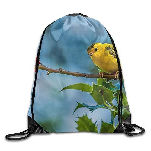 Etryrt Prämie Turnbeutel/Sportbeutel, Warbler Bird Yellow Sparrow Unisex Outdoor Rucksack Shoulder Bag Travel Drawstring Backpack Bag